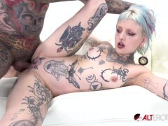 Pierced and tatted hotty gets jammed by a fat hard-on