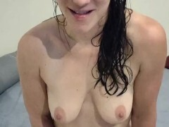 Bare white woman newly showered teases you, she will make you jism - JOI