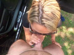 Wifey is dogging at the park and nails a stranger with facial cumshot