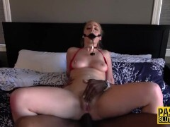 Ballgagged ash-blonde obedient gets breezies anally bitchy and playthings