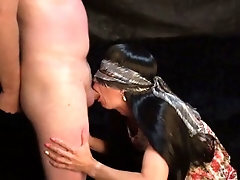 The holder pounds his Victim in the throat and ass and completes on her.