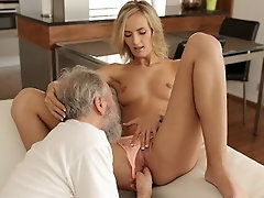 OLD4K After drinking tea chick and her old hubby have hookup on the bed