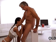 OLD4K Black-haired secretary facialized after so dreamed hook-up with old chief