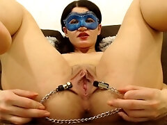 cunt stretched with nips clamps, close up and fingerblasting