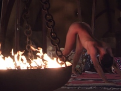 Nude Mummy presenting her beloved yoga experiences outdoor