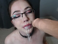 rubia  lilcanadiangirl in glasses POV blowjob cum in mouth