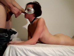 Teen in collar gets rough sloppy facefuck and pussy pounding lying on bed