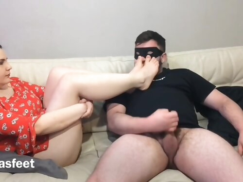 Adorable In Red Dress Gets Her Feet Sniffed And Sucks Dick!