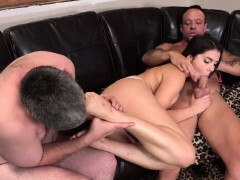 Wifey Shares a Hard-on With Her Spouse and Makes Him Munch Jizz