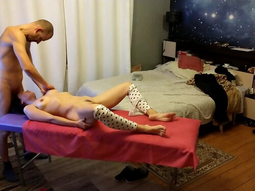 Brunette Warms Up With Massage Before Sex