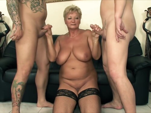Huge Knockers Milf Fornicateed By Two Guys