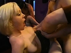 Stunning gals string up to give bawdy deepthroat crew screw
